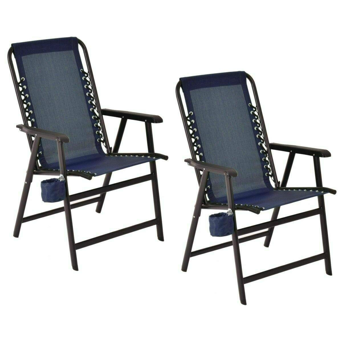 Shining Folding Outdoor Arm Chair Steel Frame with Cup Holder Blue Set of Two