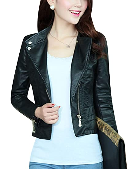 Tanming Womens Zip Up Faux Leather Moto Biker Jacket