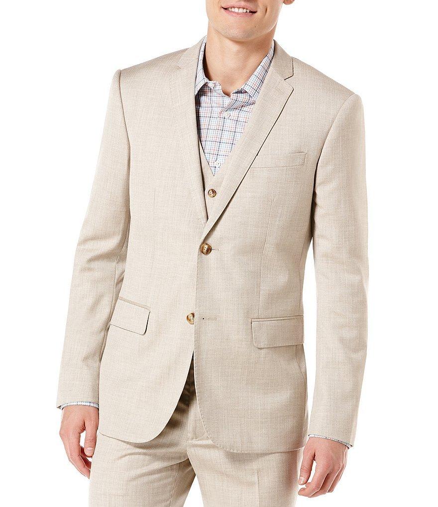 Perry Ellis Men's big-tall Big & Tall Textured Suit Jacket, Natural Linen, 52-RG