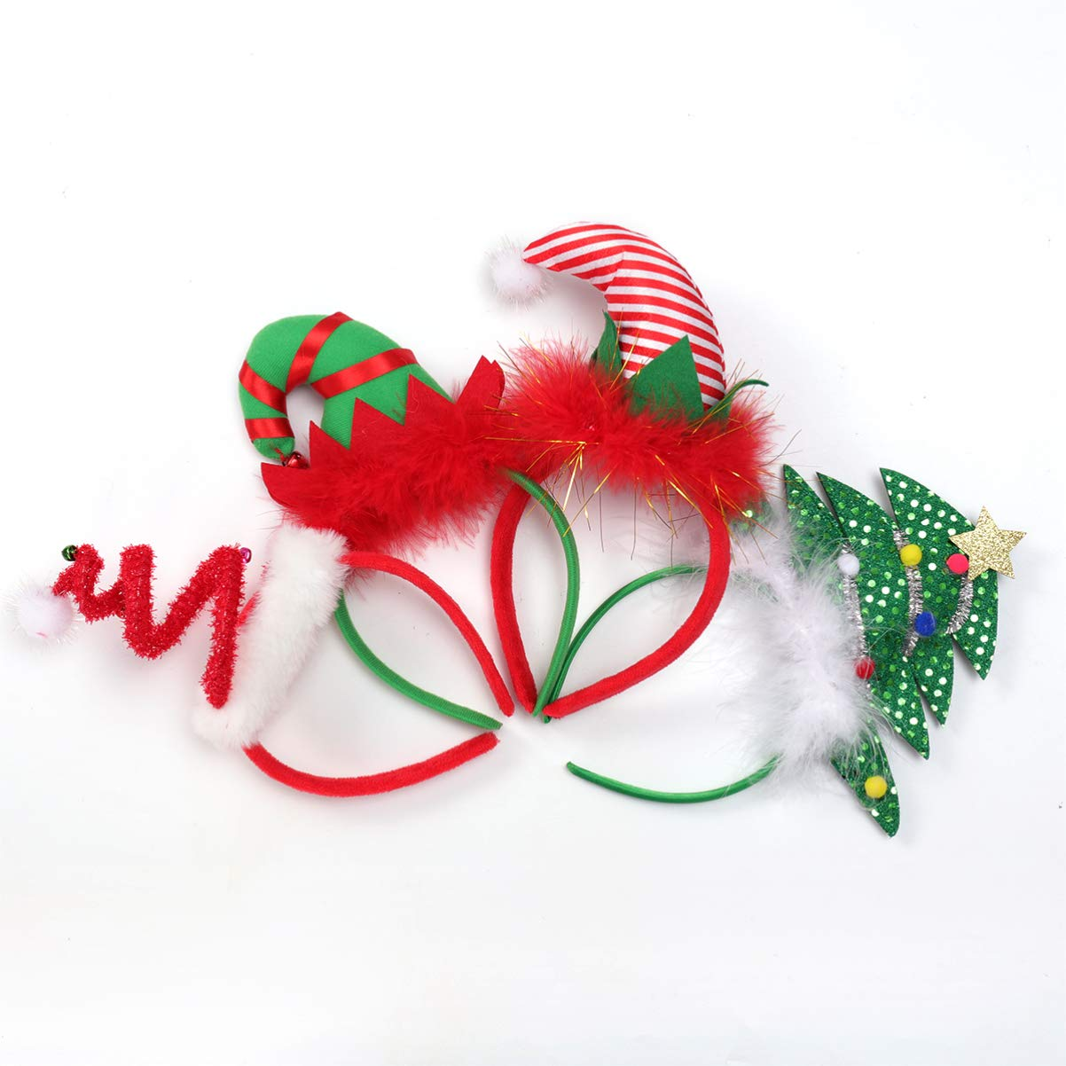 Christmas Headbands, Elf Hat Costume Headbands Christmas Party Favor for Adult Children 4 Pack