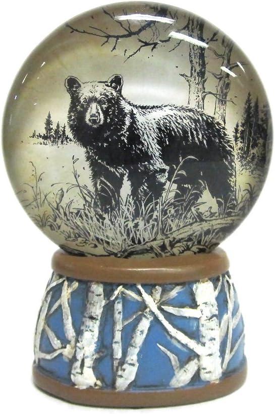 WonderMolly North American Wildlife Black Bear Light-Up Slim Snow Globe
