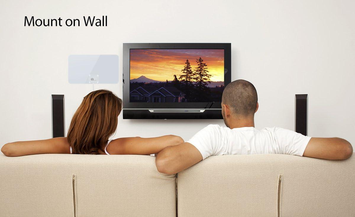 1byone Antena DVB-T/T2 DVB con excelente rendimiento para TDT y señales de TV analógica,Ventana aérea, diseño suave