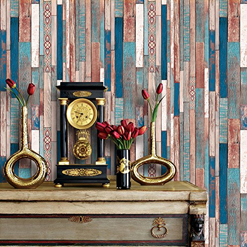 5075 Colorful Lace Wood Panel Wallpaper Rolls, Faux Distressed Wood Plank Wall Paper Bedroom Living Room Hotels Wall Decoration 20.8