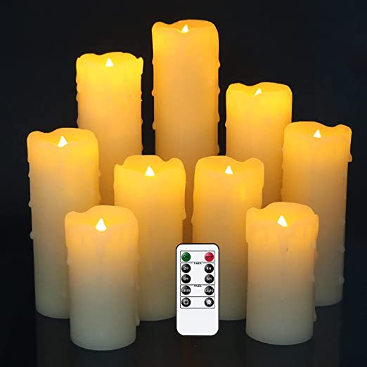 DRomance Flameless Flickering Candles Battery Operated with Remote and Timer, Set of 9 Dripping Real Wax Warm Light LED Pillar Candles for Holiday, Christmas Decoration(Ivory, 2.2