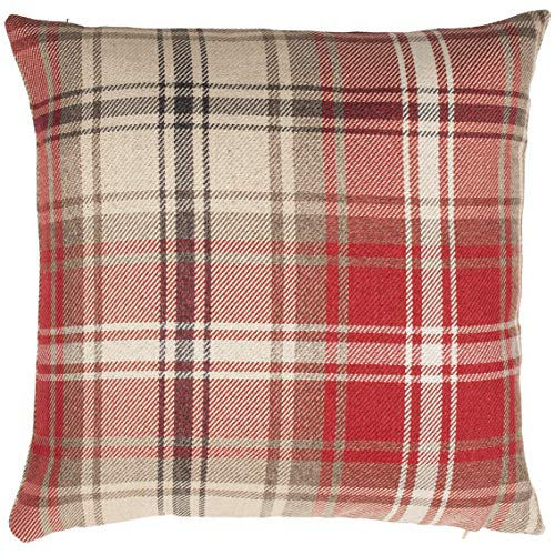 McAlister Textiles Angus Pillow Case | Burgundy Red + White Tartan Check Designer Woven Square Throw Scatter Sofa Cushion | Accessory - 24 x 24 Inches