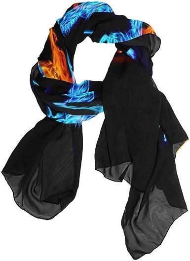 Bufanda roja azul fuego caballos, color negro para mujer ...