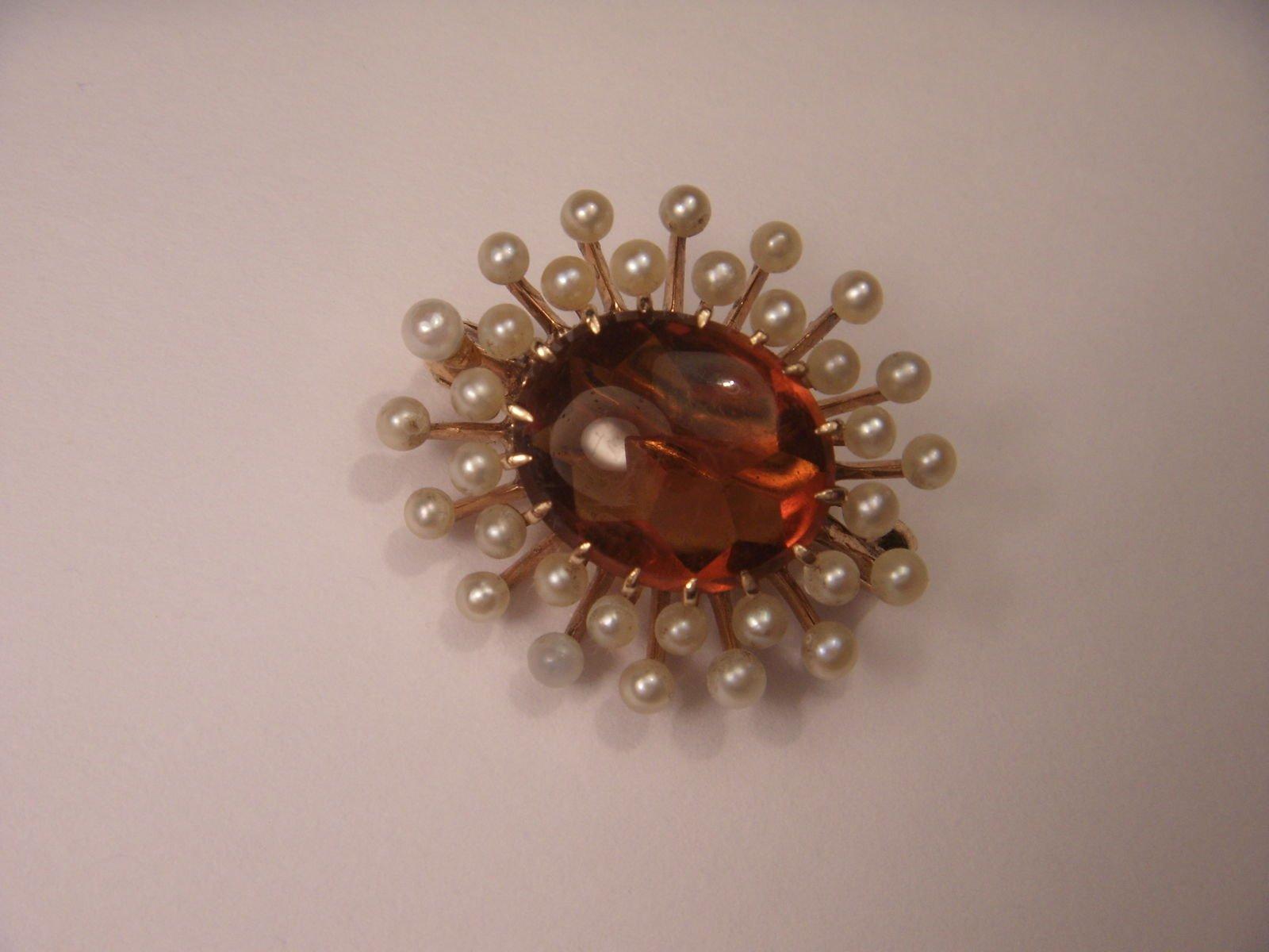 Antique 14K Rose Gold Cabochon Orange Citrine Seed Pearl Handmade Brooch Pin
