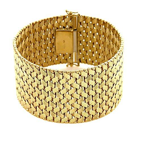 (18k Yellow Gold 34mm Textured Basket-Weave Mesh Bracelet - 7.5