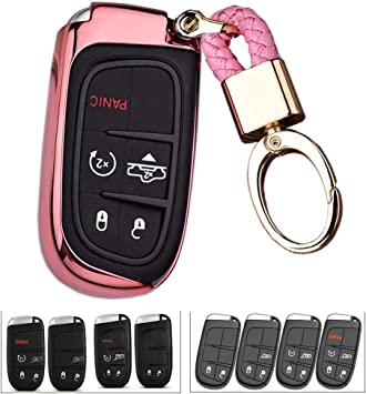 K LAKEY Key Fob Cover,Fit for Jeep Bottons Remote Key Grand Cherokee Renegade Compass Dodge Durango Journey Charger Challenger Key Fob,Smart Key Fob Soft TPU Case Shell with Alloy Keychain Silver