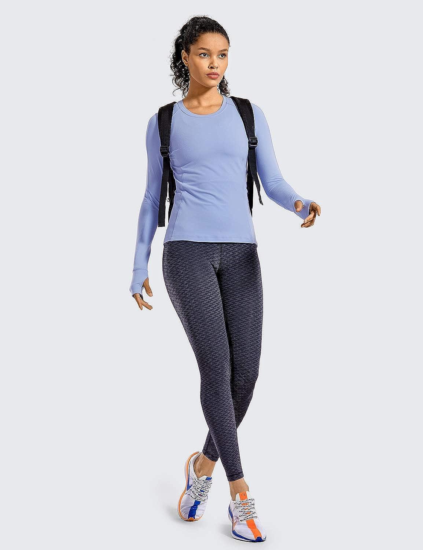 CRZ YOGA Damen Langarm Oberteil Sport Workout Top Laufshirt mit Daumenloch