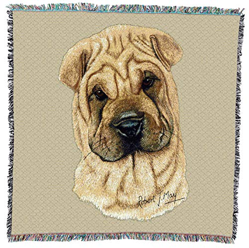 Pure Country Weavers - Shar Pei Woven Throw Blanket with Fringe Cotton. USA Size 54x54