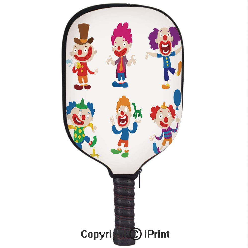 3D Pickleball Paddle Racket Cover Case with Diving Material,Clown Character Vector Cartoon illustrations4(Size:8.23