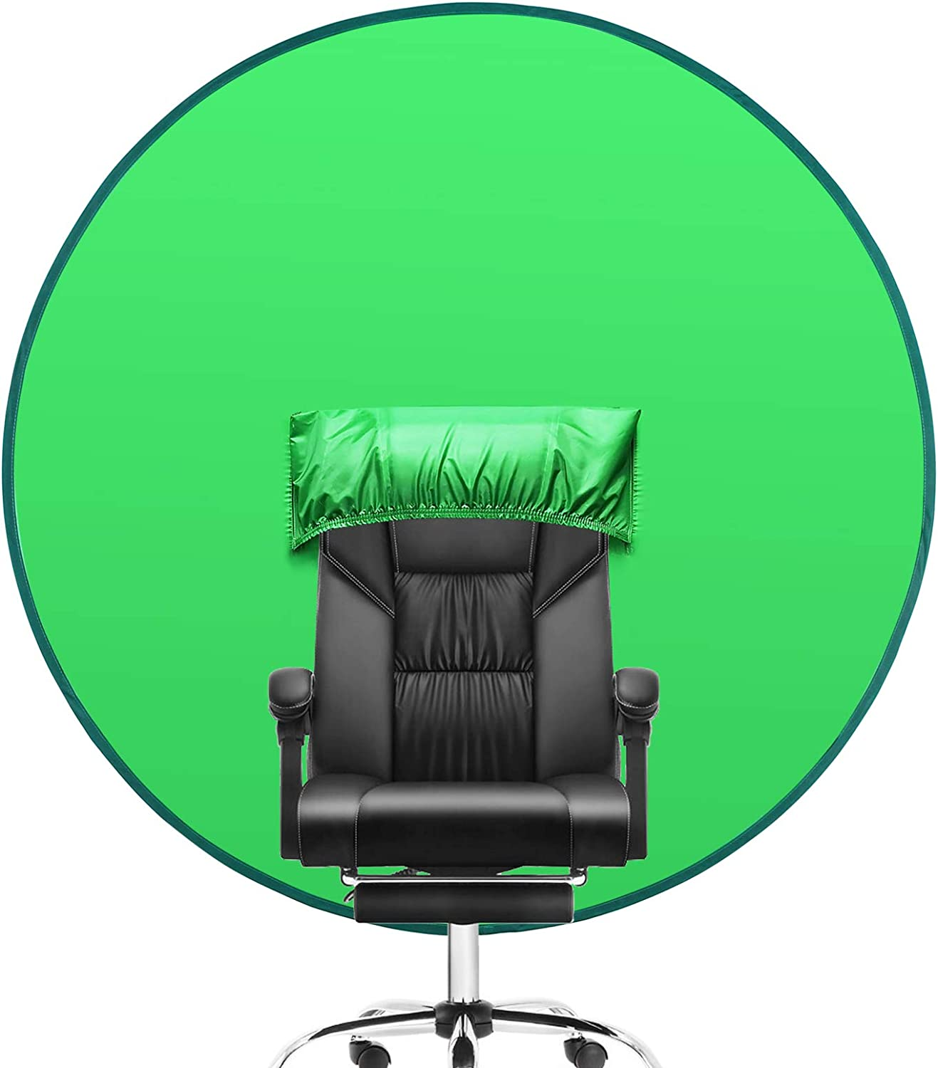 Oiwewly Green Screen Background for Chair (56''), Portable Collapsible Photography Backdrop for Home Office Video Conferencing YouTube Studio