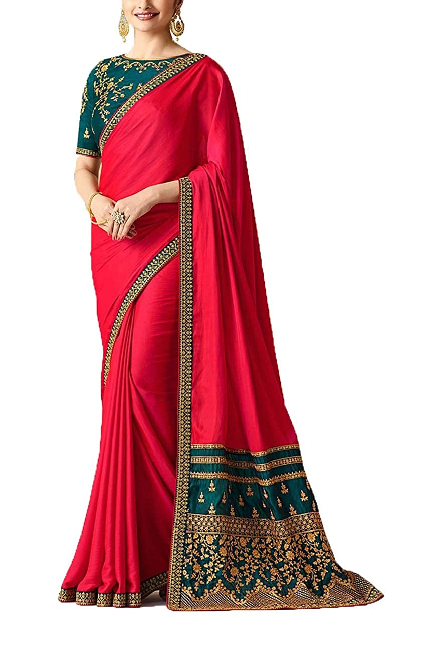 Da Facioun Women's Sparkle Silk Embroidery Saree (Pink & Green)
