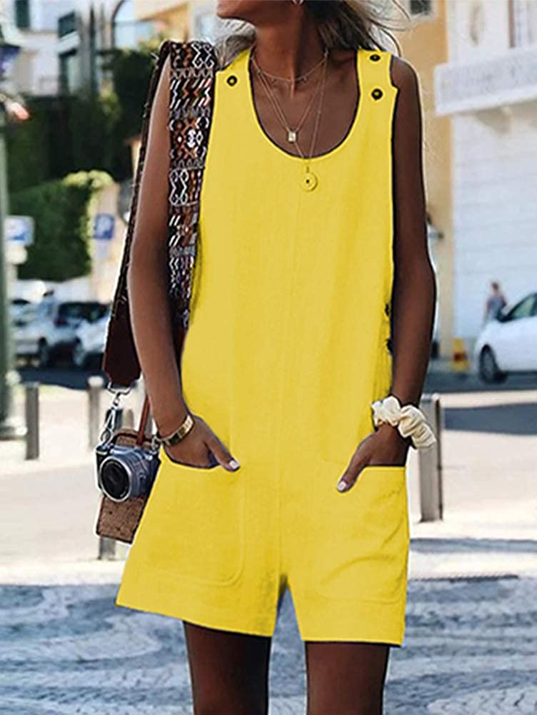 Onsoyours Womens Retro Loose Casual Baggy Sleeveless Overall Jumpsuit Playsuit Short Pants Dungarees with Pocket Playsuits