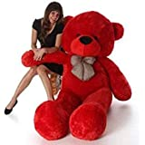 OSJS Jms Stuffed Spongy Teddy Bear with Neck Bow, Red 4 Feet (122 cm)
