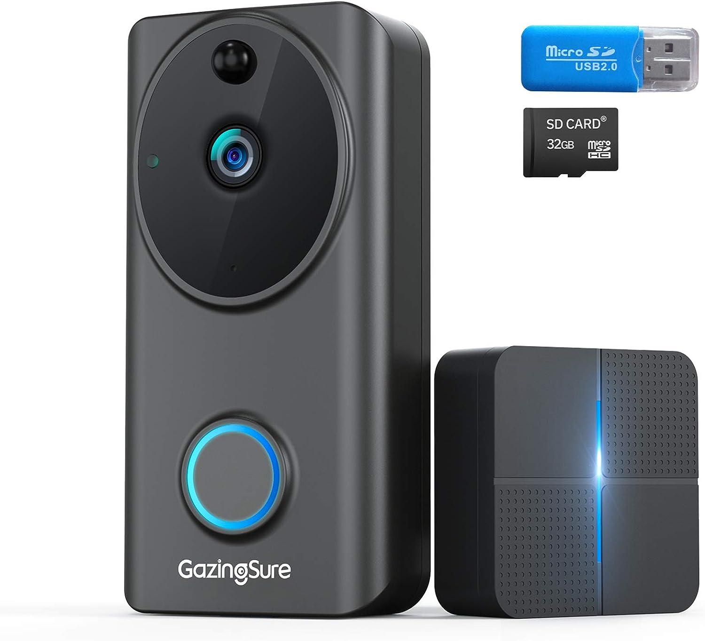 [2020 Upgrade] Wireless WiFi Video Doorbell Camera - GazingSure Alexa Doorbell 1080P FHD Home Security Camera with Indoor Chime, Easy Installation, 2-Way Audio, 32GB Card & Reader, Cloud Storage