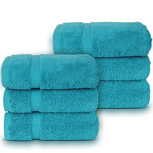 Luxury Spa and Hotel Quality Premium Turkish Hand Towel Set, 16 x 30 inches (6 x Hand Towels, Aqua) (Towels Hand Aqua)