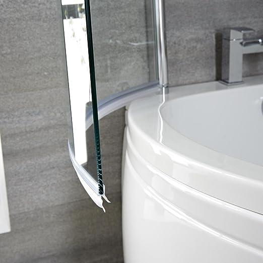Mampara de Bañera Ducha 1400x8000mm Curva Vidrio Seguridad 6mm Transparente de Fácil Limpieza Hudson Reed: Amazon.es: Bricolaje y herramientas