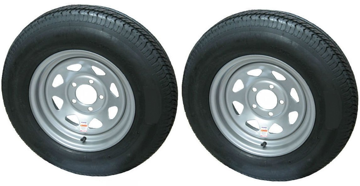 eCustomRim 2-Pack Mounted Trailer Tire and Rim ST205/75R14D 14X5.5 5-4.5 Silver Spoke
