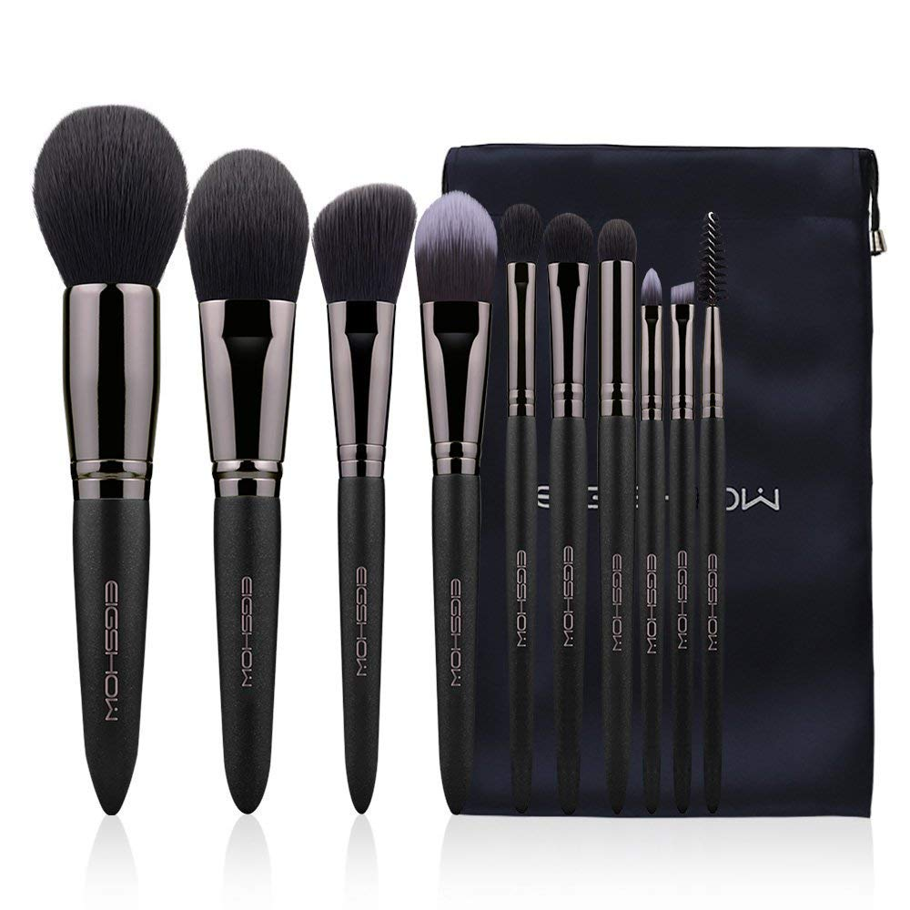 Eigshow Makeup Brushes, Black Luxury Series Professional Premium Synthetic Cosmetic Brushes Set Kit for Blending Foundation Powder Blush Concealer Highlighter Eyeshadows Brush(10 Pcs)