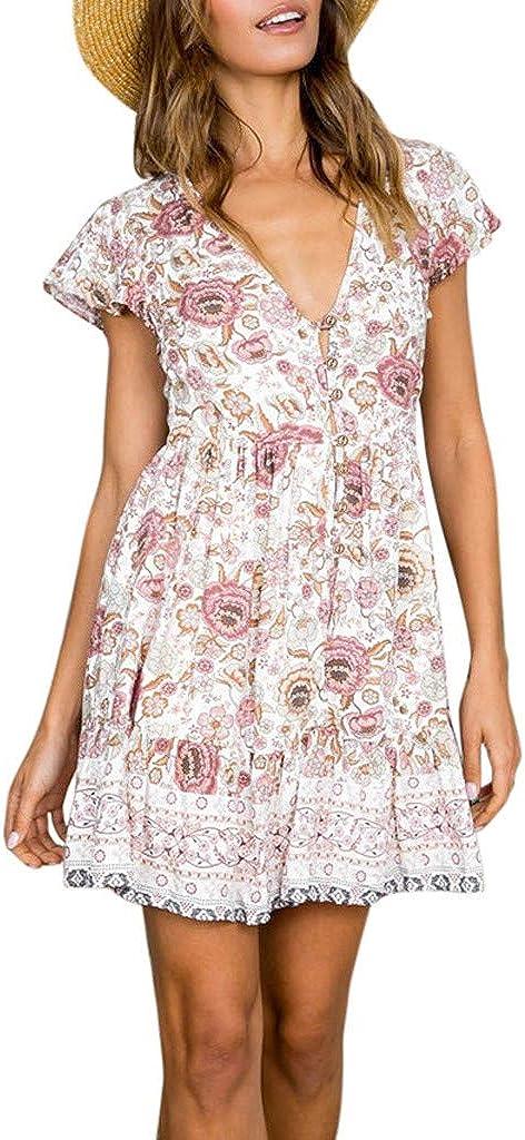 LeeMon B/öhmisches Kurzarm Kleid f/ür Womens Boho Holiday Beach Mini Bandage Kleid Damen Floral gekr/äuselten V-Ausschnitt Party Damen Fr/ühling Retro Rock
