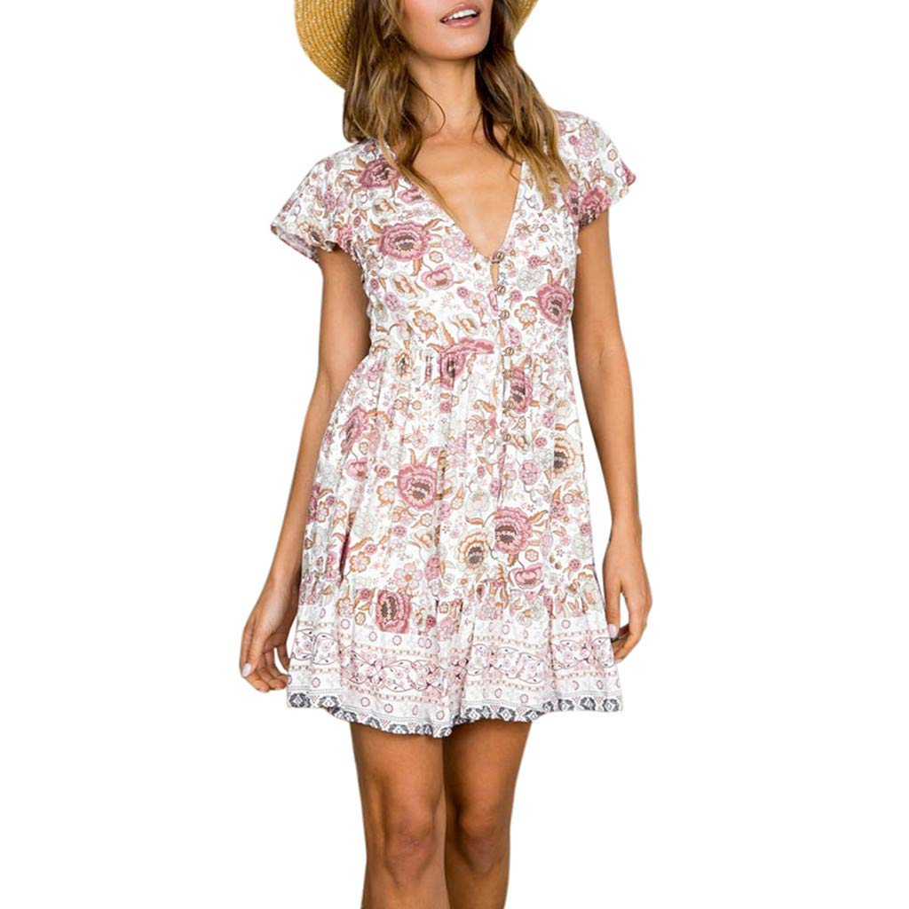 Clearance! Womens Sexy V-Neck Short Sleeve Boho Dresses Vintage Floral Print Ruffles Button Holiday Party Beach Mini Dress
