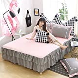 KFZ Bed Skirt With Two Pillowcases Solid Pure Plain Color ML Twin Full Queen Size 3pcs/set Super Soft Microfiber for Bedding Set (Pink Grey, Full 70''x79'')