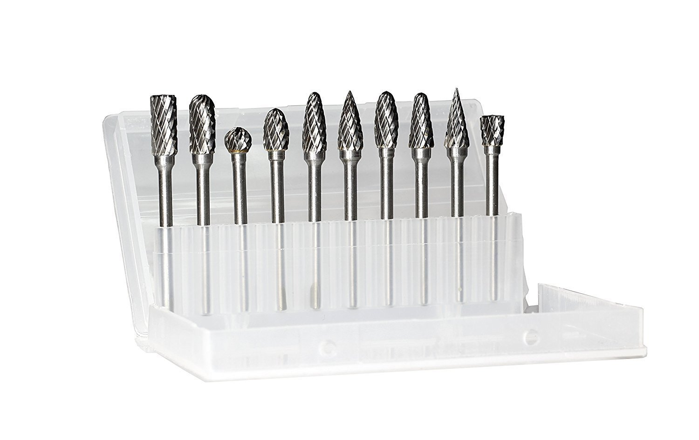 1/8 Shank Double Cut Carbide Burr set | Tungsten Carbide Burs Rotary File Burr Carving Grinding Bit Set for Die Grinder Rotary Drill Dremmel Tool - 10pcs