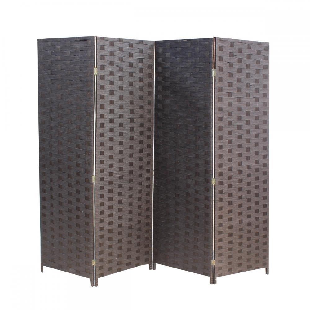 Wood Mesh Woven Design 4 Panel Folding Wooden Screen Room Divider