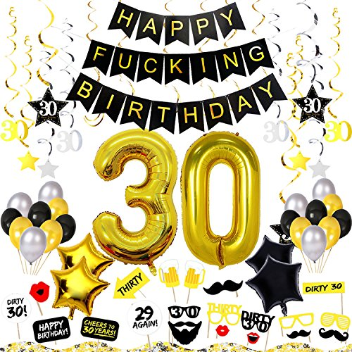 30th Birthday Decorations Kit 82 Pieces – Happy Fcking Birthday Banner, 40-Inch 30 Gold balloons, Sparkling Hanging Swirls, Photo Booth Props, Confetti for Table Decorations, Birthday Plan Checklist