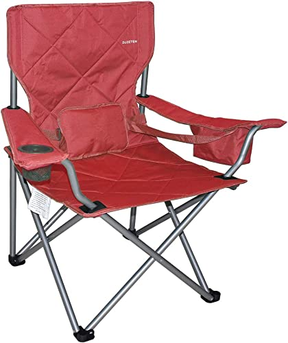 Suzeten Oversized Folding Camping Chairs Quad Arm Chair with Heavy Duty Lumbar Back Support, Cooler Cup Holder, Back Mesh Pocket, Shoulder Strap Carrying Bag Support 350 lbs, Red