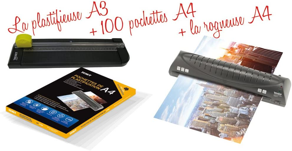 Texet Plastifieuse PRO rogneuse 100 pochettes A4