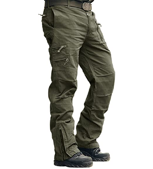767e597714d38 CRYSULLY Men's Cotton Multi-Pockets Work Pants Tactical Outdoor Military  Army Cargo Pants (No Belt)