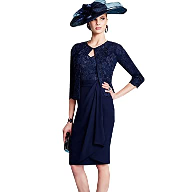 dressvip Round Neck Half Sleeves Navy Blue Lace Appliques Prom Dress Knee-Long with Chiffon