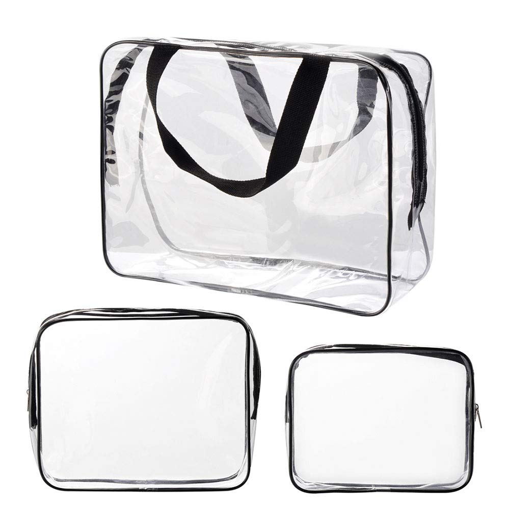 Ciaoed Waterproof Makeup Bag Clear Travel Toiletry Bags PVC cosmetic bag for Men & Women 3 Pack