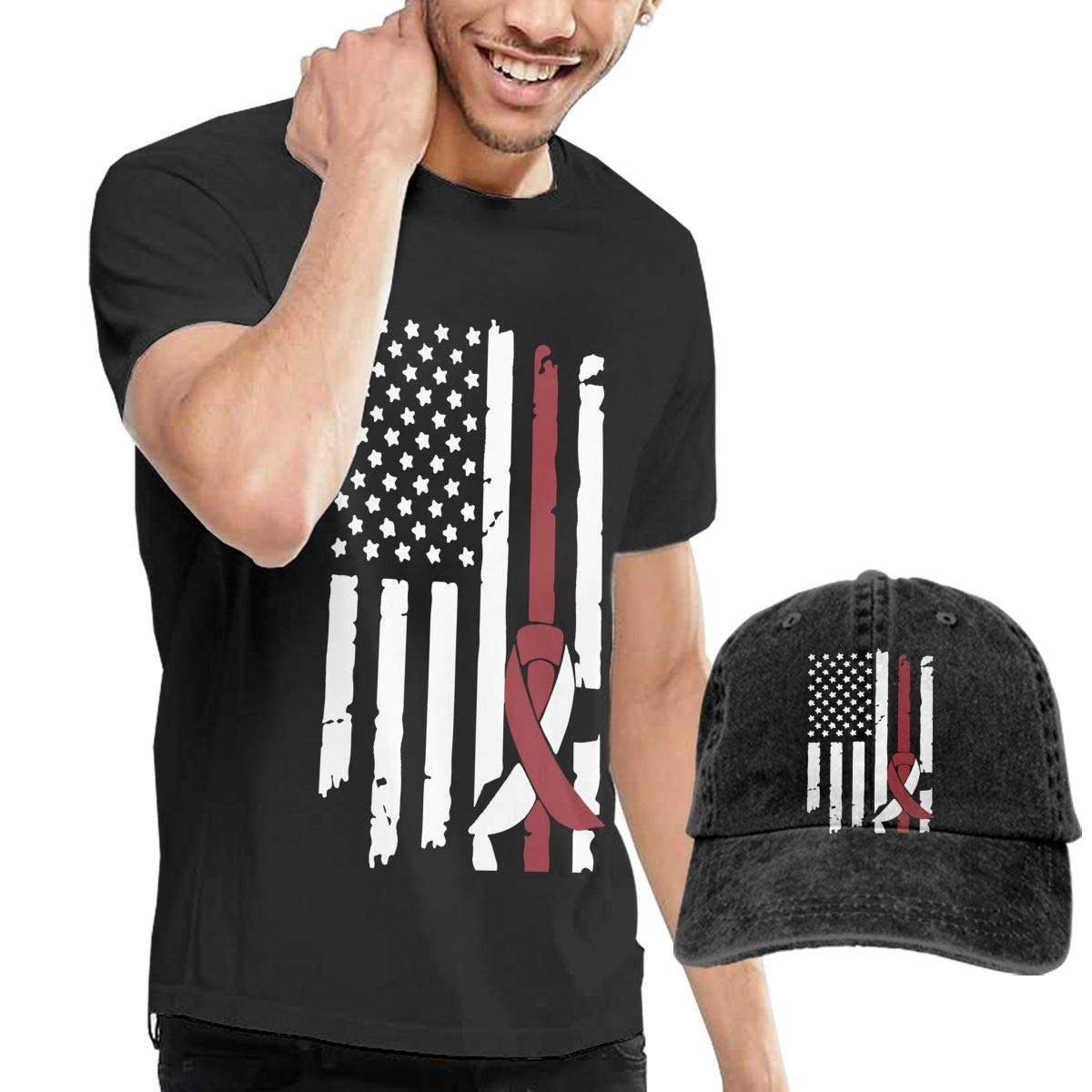 Head Neck Cancer Awareness USA Flag Adult Mens Summertime T-Shirts and Baseball Jean Hat