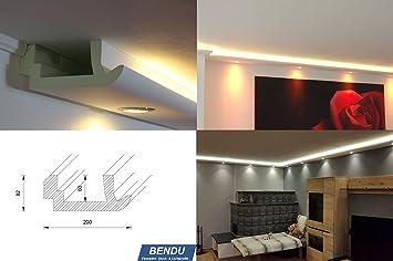 Moderne Wandbeleuchtung bendu moderne led stuckleisten bzw lichtvoutenprofile für