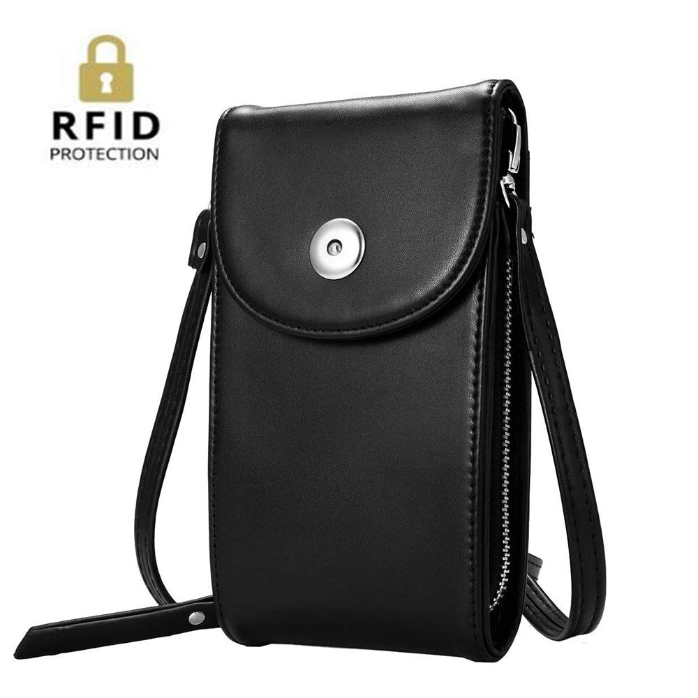 Women Small Crossbody Bag Large Capacity Phone Purse Wallet with Credit Card Holder (Black)