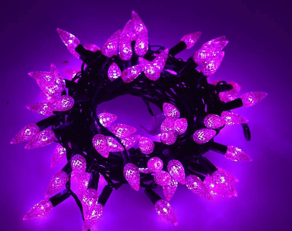 Twinkle Star C6 Halloween String Lights, 100 LED 33ft Fairy Lights with 29V Safe Adaptor, Indoor Outdoor Black Wire Lights 8 Lighting Modes with Memory Function for Patio Xmas Tree Party Decor, Purple