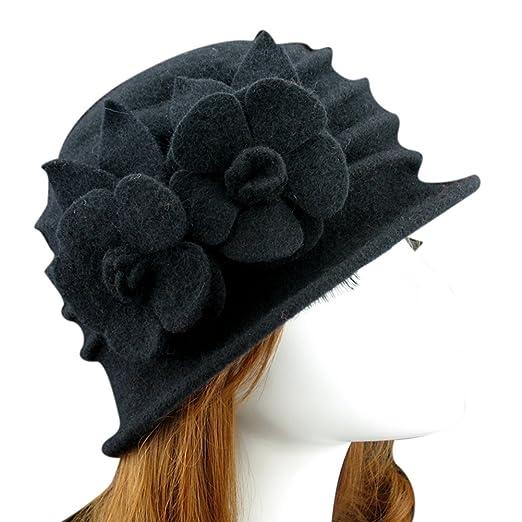 a5e4a0b35d3c6 Ealafee Fedora Hat Black Wool Cloche Cap Floppy Hat Vintage Wool Hat for  Girls