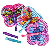 Butterfly Paper Folding Fans - Butterfly Party Supplies - Party Favors, Party Decorations, Prizes, Classrooms, Treasure Boxes, Easter Baskets (Pack of 36)