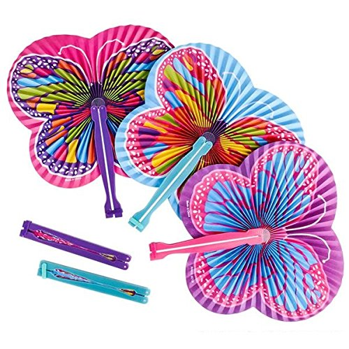 Butterfly Paper Folding Fans - Butterfly Party Supplies - Party Favors, Party Decorations, Prizes, Classrooms, Treasure Boxes, Easter Baskets (Pack of 36) by Shop Zoombie