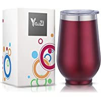 YouZI Vacuum Stainless Steel Stemless Insulated Wine Tumbler With Lid (Red)