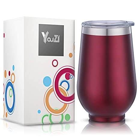 Amazon.com: YouZI - Vaso de acero inoxidable con tapa, 12 ...