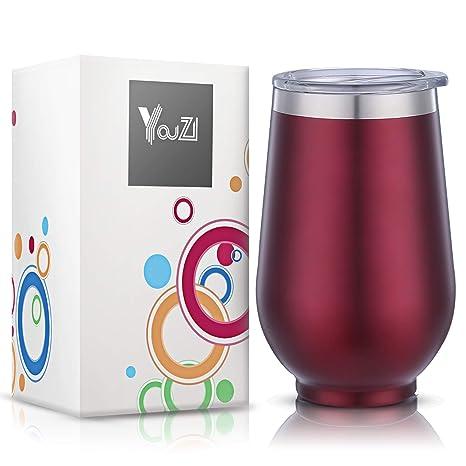 Amazon.com: YouZI - Vaso de acero inoxidable con tapa, 12 ...