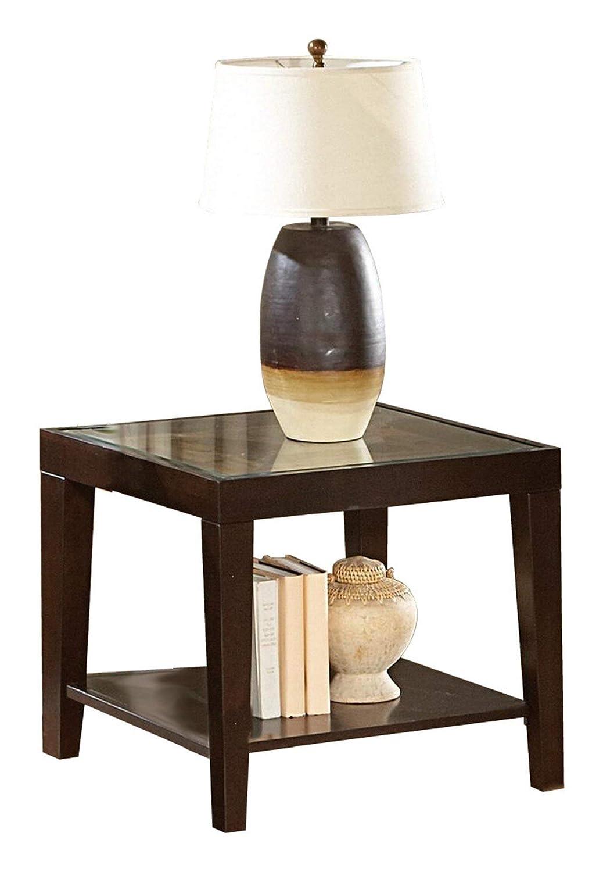 Amazon.com: Valencia End Table with Glass Insert in Espresso ...