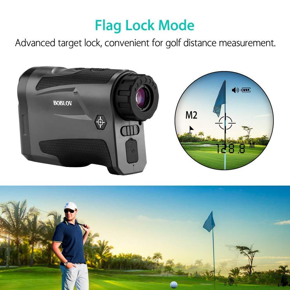 Boblov Telémetro de Golf, LF600G Telémetro Monocular 600M 6 x Aumento Impermeable con Bloqueo de Bandera/Distancia/Medición de Velocidad/Vibración ...