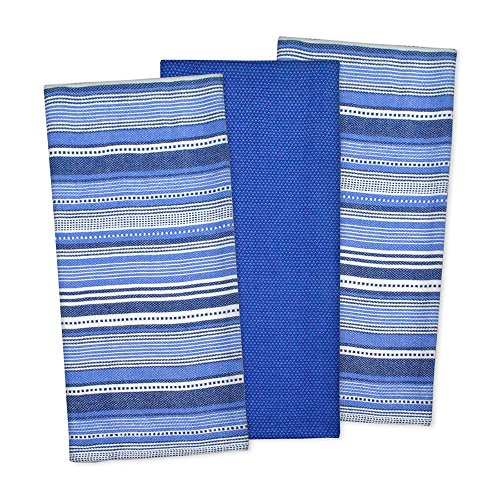- Three Piece Urban Stripe Nauticale Blue Dishtowel (Set Of 3), Machine Washable And Tumble Dry, Stripe Patterns, Contemporary And Sophisticated Style, Use Season Or Holiday, Cotton Material, Aqua, Teal