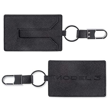 TapTes Car Key Holder Card Case Leather Compatible with Tesla Model 3 - Black 2pcs